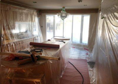 Kitchen prepped for California knockdown ceiling