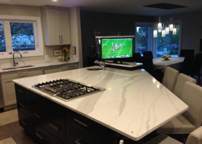 Kitchen island with TV Lift